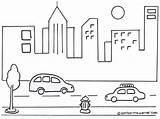 Mewarnai Gambar Perkotaan Pemandangan Suasana Kota Untuk Mewarna Diwarnai Sketsa Gedung Jalan Raya Mobil Anak Sekolah Menggambar Malam Tk Pedesaan sketch template