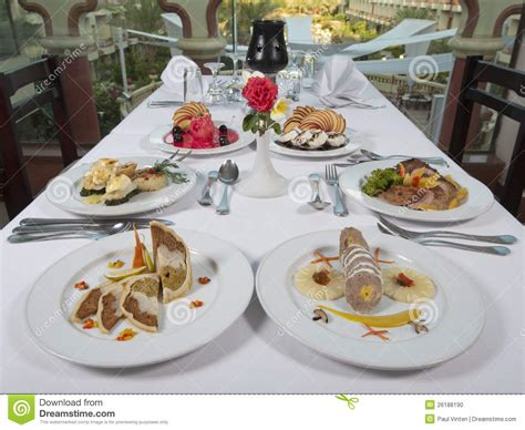 restaurant la cuisine valence three course meals in an a la carte restaurant stock photo