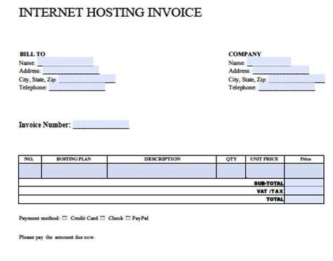 internet hosting invoice template   blank