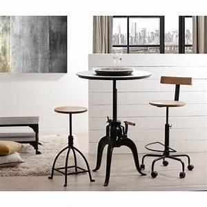 Table Ronde Industrielle : table ronde industrielle ajustable hauteur meubles macabane meubles et objets de d coration ~ Teatrodelosmanantiales.com Idées de Décoration