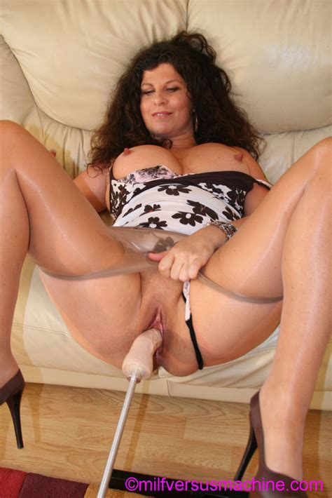 Curly Brunette Mom In Pantyhose Stretching Xxx Dessert
