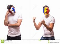 France Vs Romania On White Background Football Fans Of