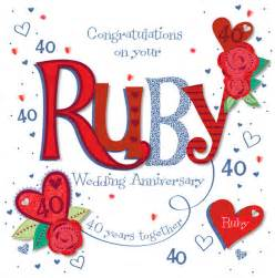 40 year wedding anniversary handmade ruby 40th wedding anniversary greeting card cards kates