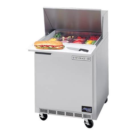 27 inch sandwich prep table beverage air spe27 a 27 in prep table with 6 pans