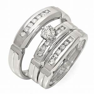 luxurious trio marriage rings half carat round cut diamond With affordable wedding rings for him and her