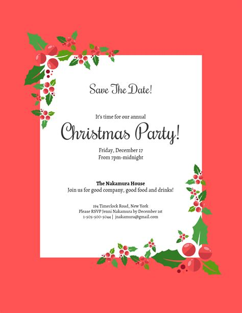 Save the Date Christmas Party Invitation Template
