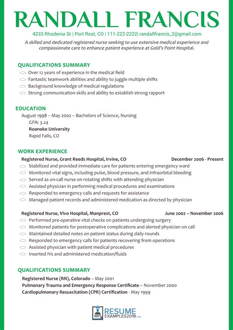Get Nursing Resume Examples 2018 And Land Your Dream Job