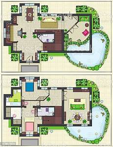 House, Top, Plan, Of, Ground, And, Second, Floors, Stock