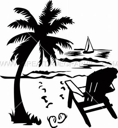 Beach Chair Palm Tree Scene Clipart Flip