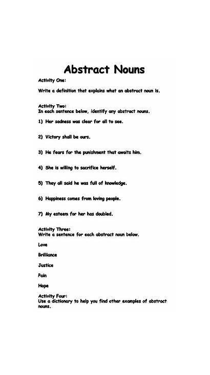 Nouns Abstract Worksheet Worksheets Grammar Resources Teaching