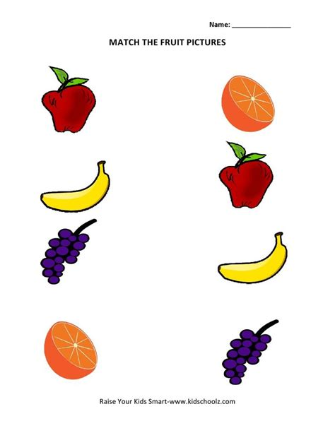 Picture Matching Worksheets  Fruits  Summmer Vacation  Matching Worksheets, Preschool