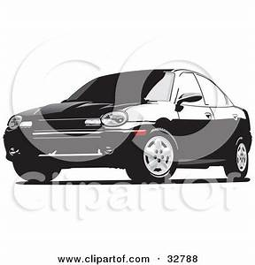 Clipart Illustration of a Black Dodge Neon Car With Tinted