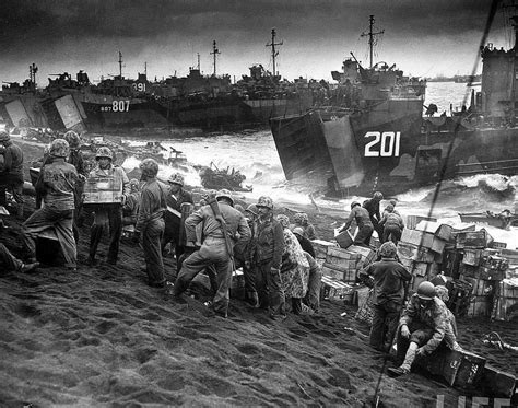 Wwii Photo Us Marines Iwo Jima Beach Supplies Ww2 B&w