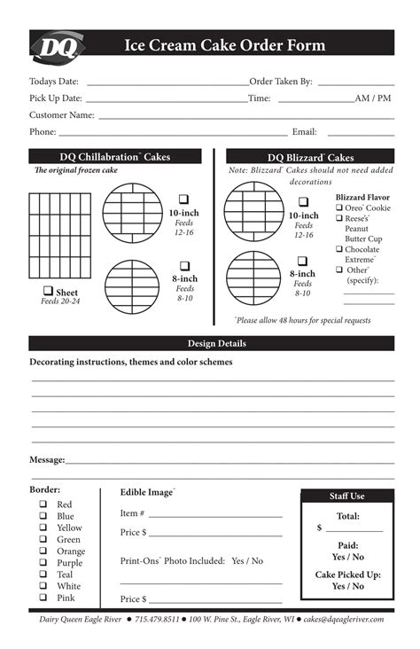 cake order forms  excel  ms word