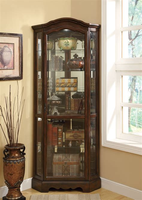 brown corner curio cabinet  coaster