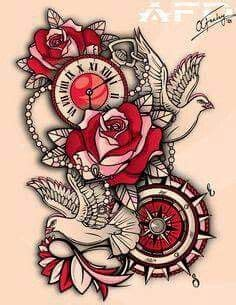 roses doves    school clock awesome tattoo tattoos  love tattoo sleeve designs
