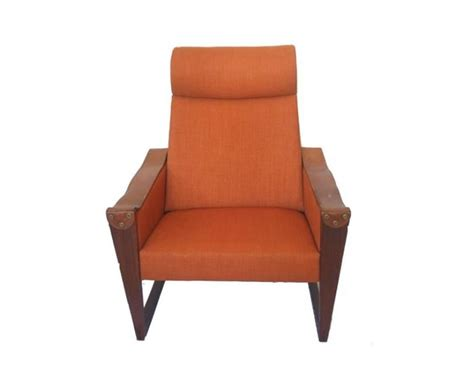 Danish High Back Leather And Fabric Armchair For Sale At