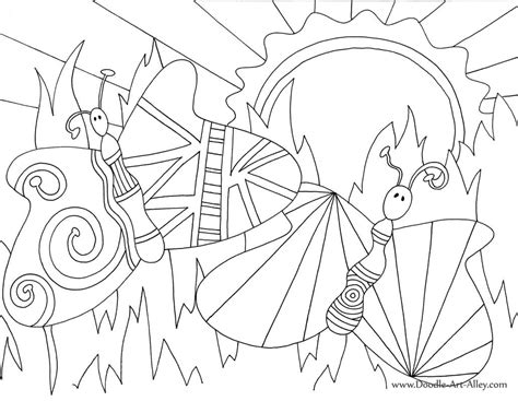 bug  insect coloring pages doodle art alley