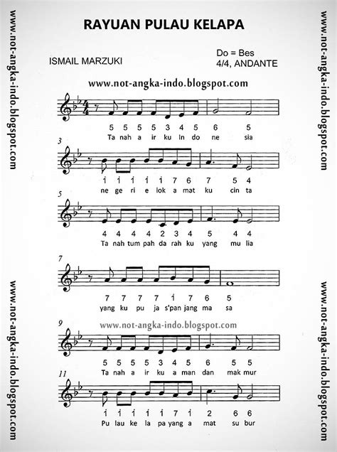 lagu indonesia raya not balok not angka lagu rayuan pulau kelapa not angka lagu indonesia