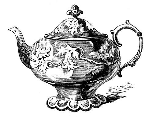 Free Vintage Clip Art 2 Ornate Teapots The Graphics Fairy