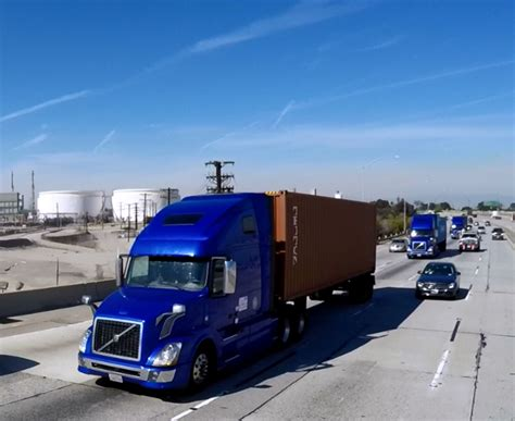 volvo highway volvo shows off three truck platoon on interstate 110 in
