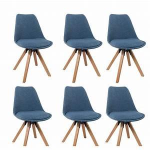 Lot De 6 Chaises Salle à Manger : lot de 6 chaises de salle manger scandinave en tissu bleu pieds en bois cds09242 d coshop26 ~ Teatrodelosmanantiales.com Idées de Décoration