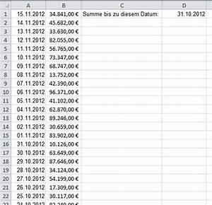 Excel Tabelle Summe Berechnen : summe von zellen bis zu einem bestimmten eintragsdatum in einer excel tabelle berechnen ~ Themetempest.com Abrechnung