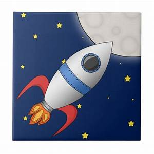 Cute Cartoon Space Rocket Ship Small Square Tile | Zazzle