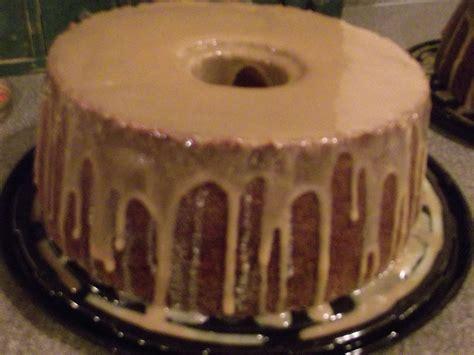 banana pound cake  carmel glaze cakes  scratch