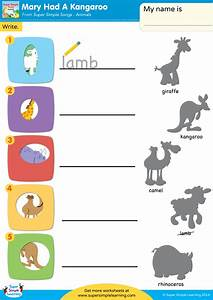 had a kangaroo worksheet write simple