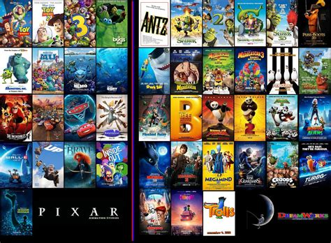 Pixar Movies And Dreamworks Movies By Espioartwork-102 On