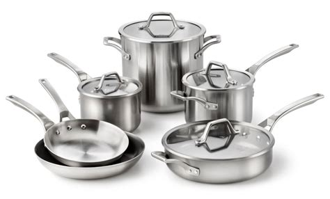 calphalon accucore stainless steel cookware set  piece cutlery