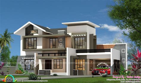 modern mix roof  bhk  sq ft home flat roof house kerala house design  house plans
