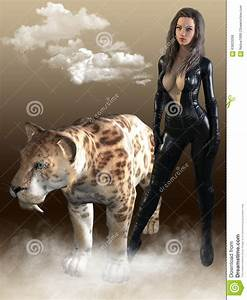3D Render Of Woman With Sabertooth Tiger. Stock ...