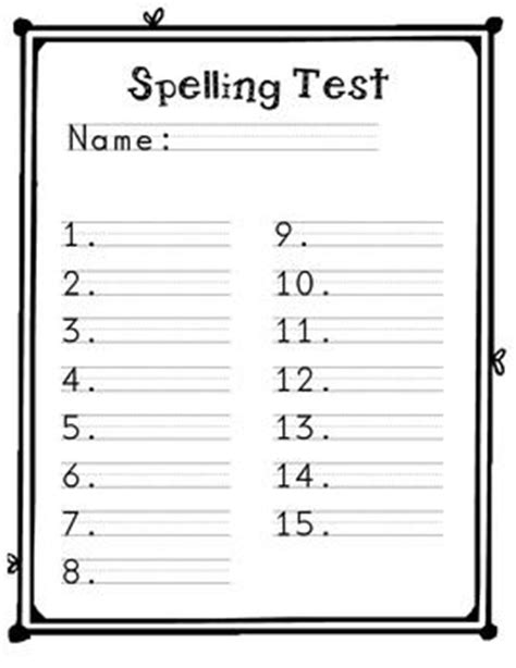 Spelling Test Template 13 Best Images Of Words Spelling Test Worksheets 1st
