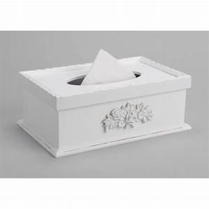 Boite Mouchoir Bois : boite mouchoirs en bois blanche motif fleurs ~ Teatrodelosmanantiales.com Idées de Décoration