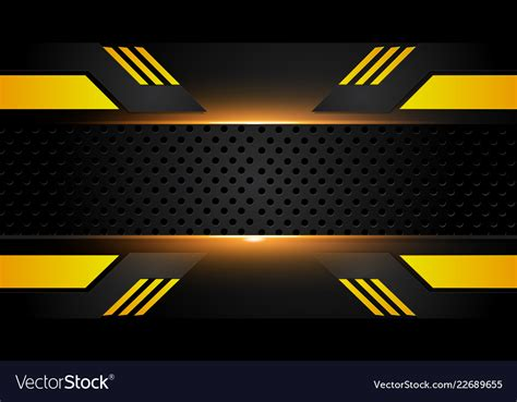 Abstract Black And Yellow Design by Abstract Metallic Yellow Orange Black Frame Vector Image