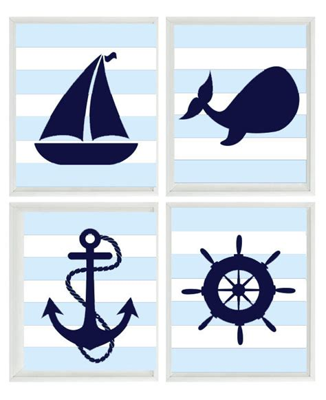 sailboat wheel wall decor nautical nursery print set navy blue white light blue