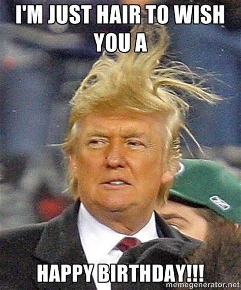 Funny Memes For Birthday - donald trump wild hair i m just hair to wish you a happy birthday wishes pinterest