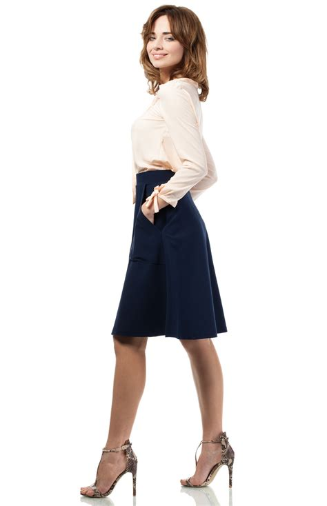 jupe bureau jupe trapèze bleu marine moe me184bm idresstocode