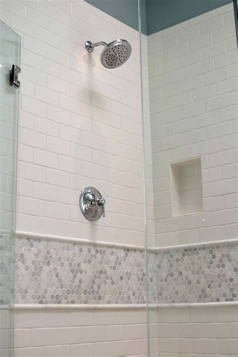 floor  glassstone  white subway tile shower