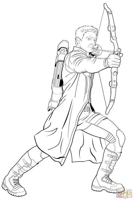 Avengers Hawkeye Coloring Page Free Printable Coloring Pages