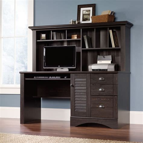 sauder harbor view computer desk with hutch salt oak new sauder harbor view computer office desk with hutch