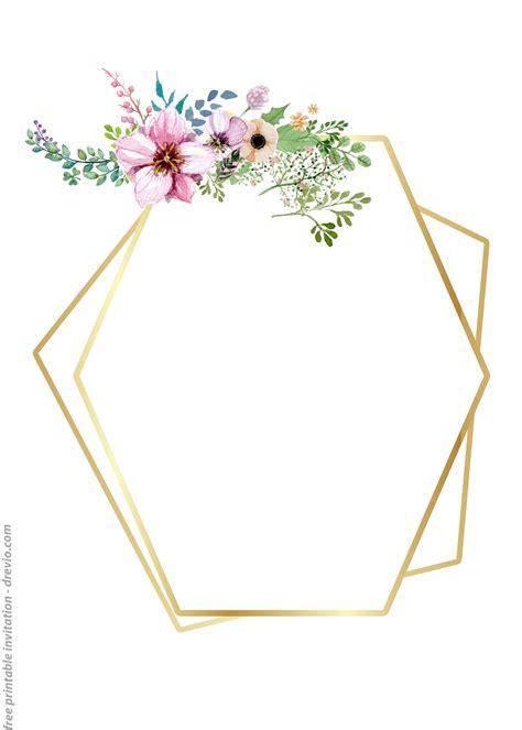 FREE Printable Golden Floral Frame Invitation Templates
