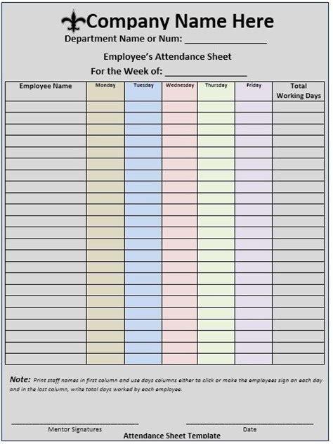 meeting attendance sheet attendance sheet template