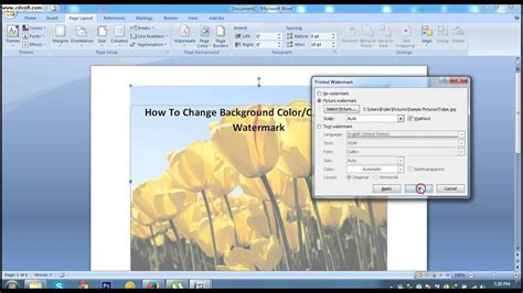 change background color  printed watermark  ms