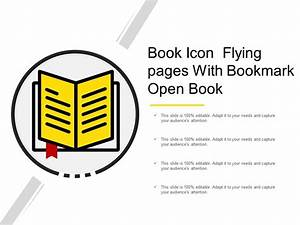 Book Icon Flying Pages With Bookmark Open Book ...