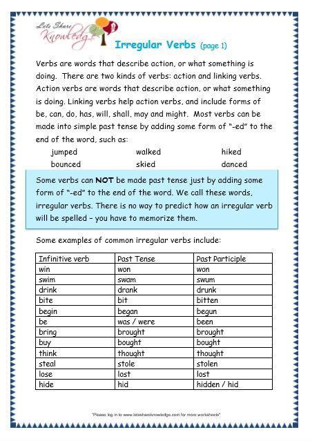 grade  english grammar worksheets verb words english