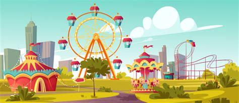 Dibujo ✓ te explicamos qué es el dibujo y por qué es una herramienta de expresión. Parque de atracciones, carnaval o feria festiva de dibujos animados   Vector Gratis