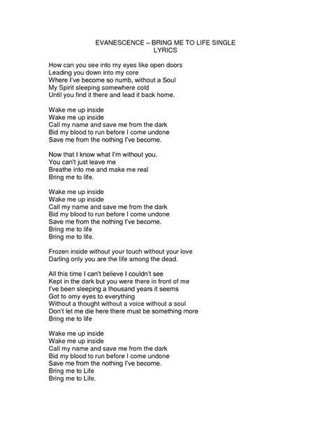 bring me to evanescence song lyrics www